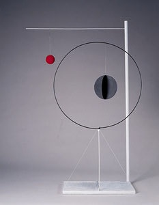 """Object with Red Ball, 1931  Wood, sheet metal, wire, and paint  61 1/4"""" x 38 1/2"""" x 12 1/4""""  Calder Foundation, New York  A03741"""