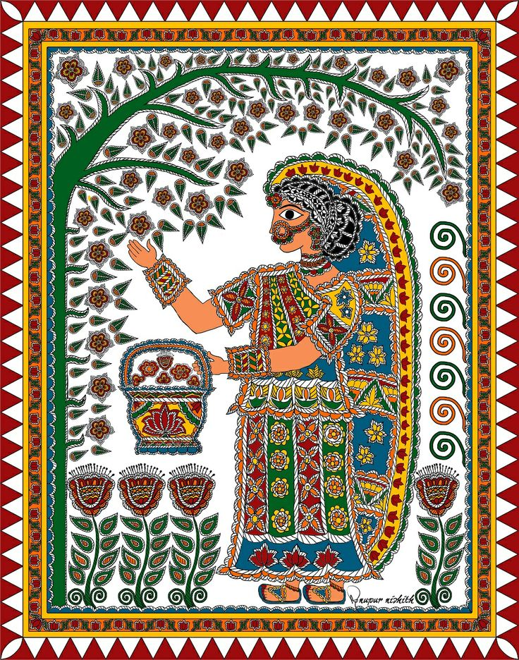 """Bride plucking flower in Garden in Mithila Painting is digitally painted with the motifs and style of  Madhubani / Mithila Painting. In traditional Mithila it is called """"Gauri Pujan lai phool torait Kaniya"""" (Maithili Language) meaning """"Bride plucking flowers for worshiping Goddess Gauri"""".  Artist :Nupur Nishith"""