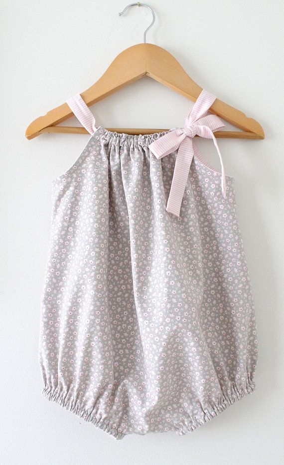 Baby Girl RomperTiny Floral and Pink Stripe by ChasingMini on Etsy