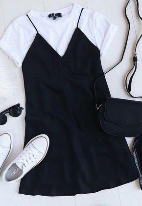 Sultry Soiree Black Satin Slip Dress