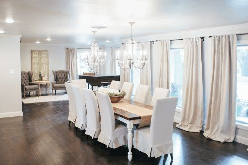 "Joanna added new ""Coronado Birch"" wood flooring in the main living spaces and painted the walls ""Alpaca"". She also added new light fixtures from Restoration Hardware, adding traditional soft touches to the space."