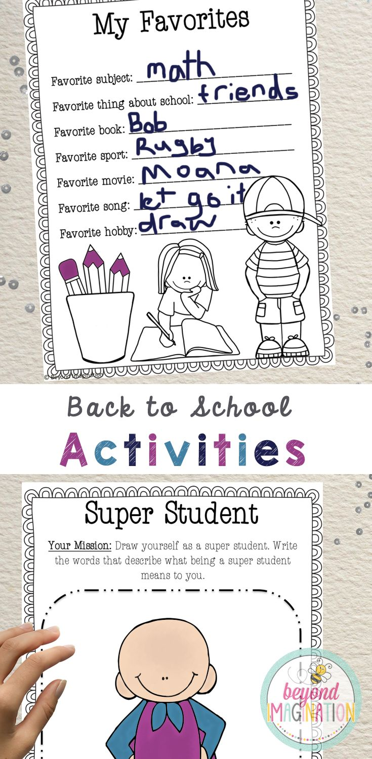 Finally! Some no prep printables that are creative and fun for back to school. So many fun ideas are included such as someone who, words in words, my favorites, my goals, dear future me, first day feelings, and my year ahead in a comic. Click on the link to see more creative back to school worksheet ideas.