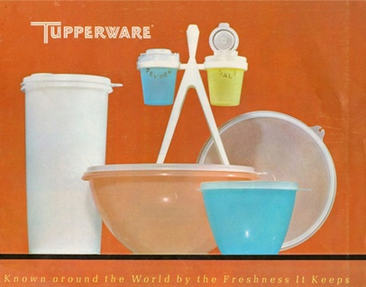 Vintage Tupperware advertisement.  Known around the World by the Freshness It Keeps. As a kid my mom had these. :)
