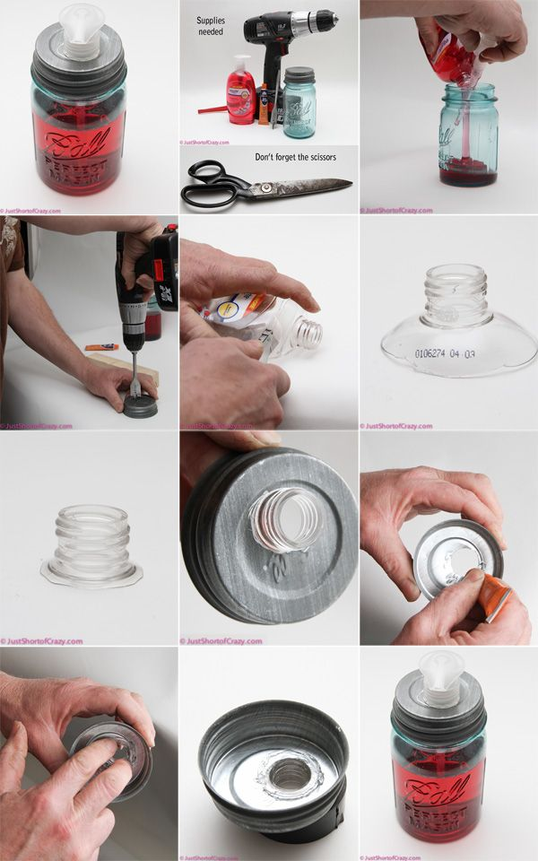 MASON JARS :: DIY Soap Dispenser Tutorial :: GREAT TECHNIQUE on how to fit any dispenser pump to the bottle but cutting & gluing the threaded bottle portion of the bottle to the mason jar lid. Genius!