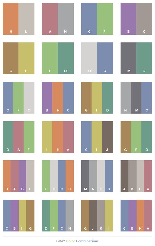 Gray tone color schemes, color combinations, color palettes for print (CMYK) and Web (RGB + HTML)