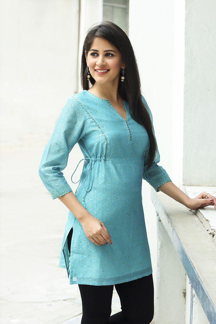 #tunic #tie-up #contemporary #turquoise #chanderi #formal #fashion #Fabindia