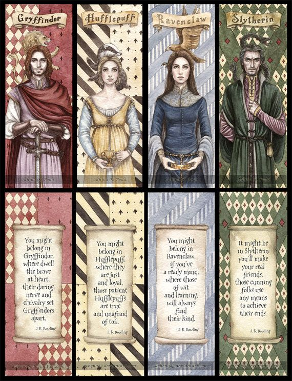 Hogwarts Founders Double Sided Bookmarks Set of 4 by achen- I know it's sold out, but if they ever re-list it, I WANT ALL OF THEM.