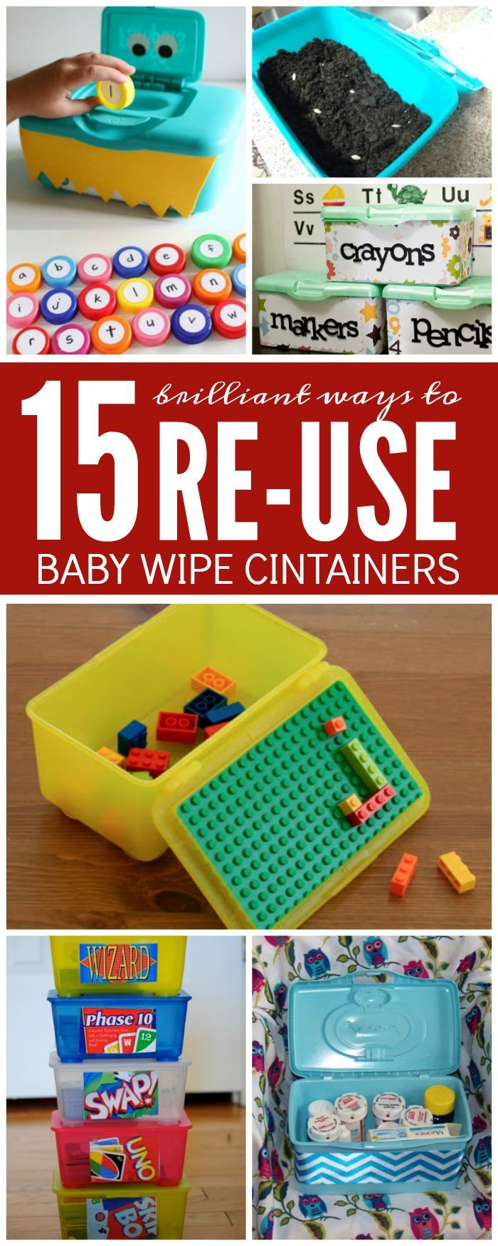 Check out these 15 Surprising Ways to Re-Use Baby Wipe Containers, you will be up cycling your products and you can use them for some really, really great ideas!