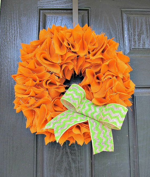 "Rust Orange Burlap Wreath with Green Chevron Bow - 16"" - Fall, Rustic, Halloween, Thanksgiving Decor on Etsy, $50.00"