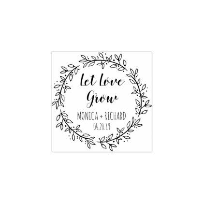 Create Your Own Let Love Grow Typography Wedding Rubber Stamp - typography gifts unique custom diy