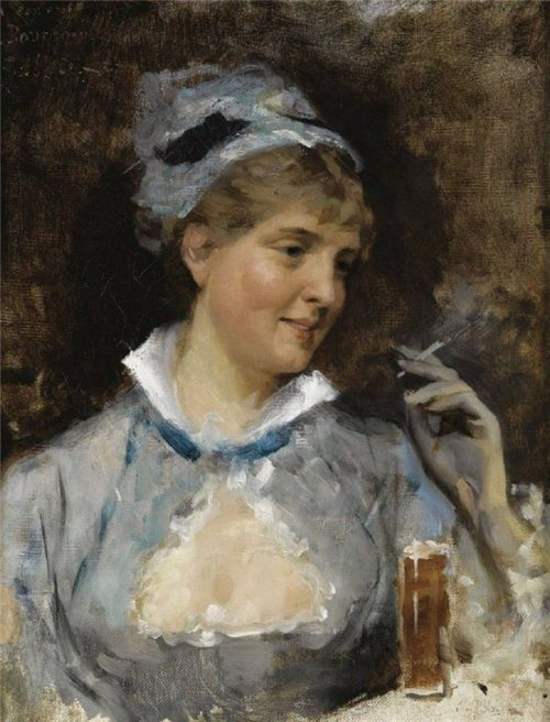 Paintings by Albert Edelfelt - In a Bar, Finnish (1854 - 1905)