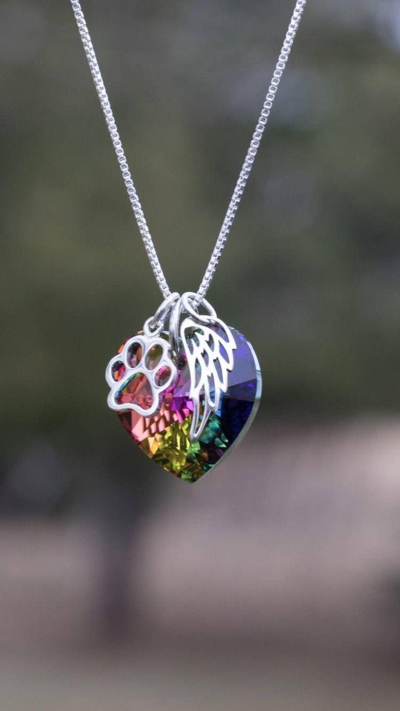 Rainbow bridge pet loss necklace - Pet Loss- Pet Loss Gift - pet memorial - pet loss jewelry - memorial gift - Loss of Pet - Fur baby by KristiKayDesigns on Etsy https://www.etsy.com/listing/224367312/rainbow-bridge-pet-loss-necklace-pet