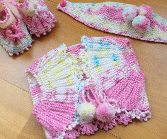 Hand Knitting Baby Girls Set / 0  9 Months / Vest by BYBERRDESIGNS, $36.25
