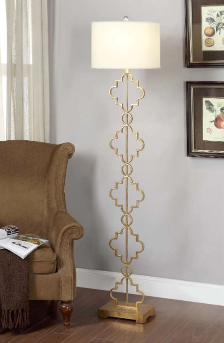 Arc floor lamp dining table - Covered In Gold Leaf This Moroccan Floor Lamp Body Features A Creative Design Of Stacked