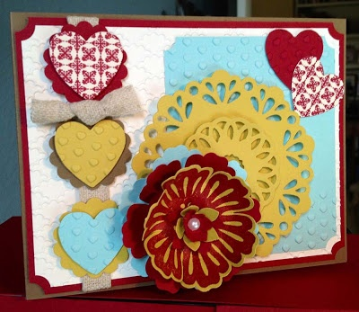Valentine's Day Card using SU Soft Suede, Cherry Cobbler, Summer Star Fruit and Pool Party.