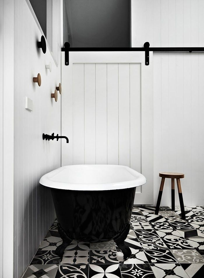 Fantastic black and white bathroom with modern patterned floor tiles
