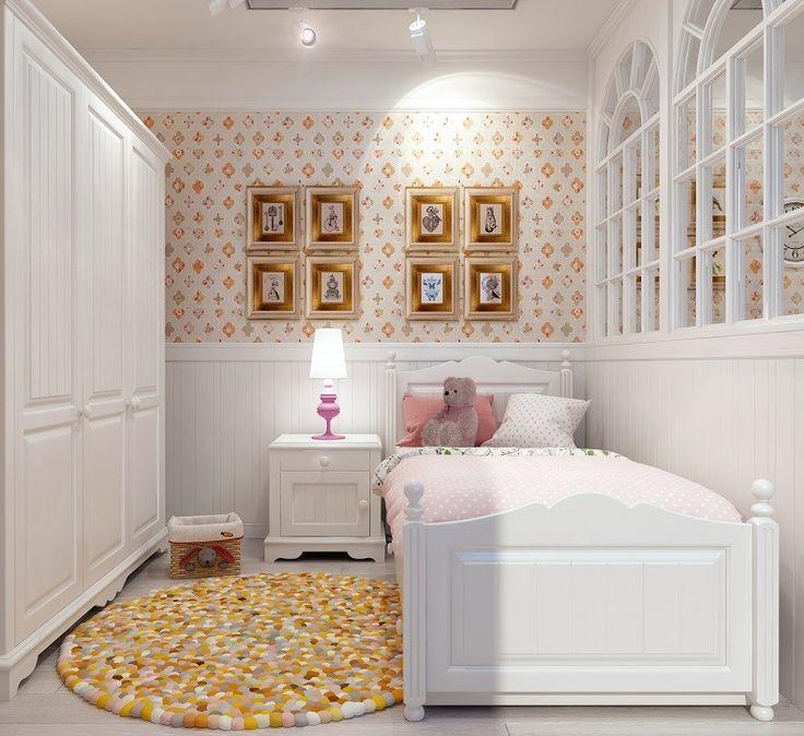 Детский спальный гарнитур Melanie Plus-6 изготовлен из полностью окрашенного мебельного щита. Шкаф, прикроватная тумба и кровать в белом цвете. Такая мебель отлично подходит для стиля прованс, кантри или колониальный. White small spaces bedroom for girl. Country, loft, colonial