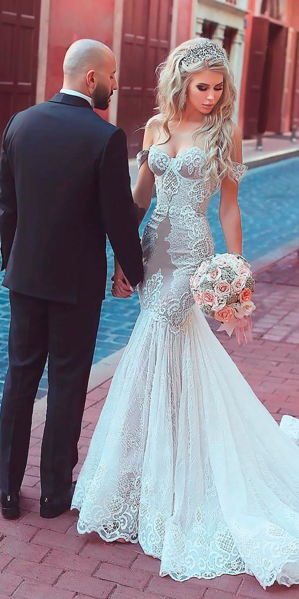30 Beach Wedding Dresses Perfect For Destination Weddings ❤ beach wedding mermaid lace off the shoulder sweetheart said mhamad ❤ See more: http://www.weddingforward.com/beach-wedding-dresses/ #wedding #bride