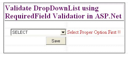Validate Dropdownlist control using RequiredField Validator control in ASP.Net