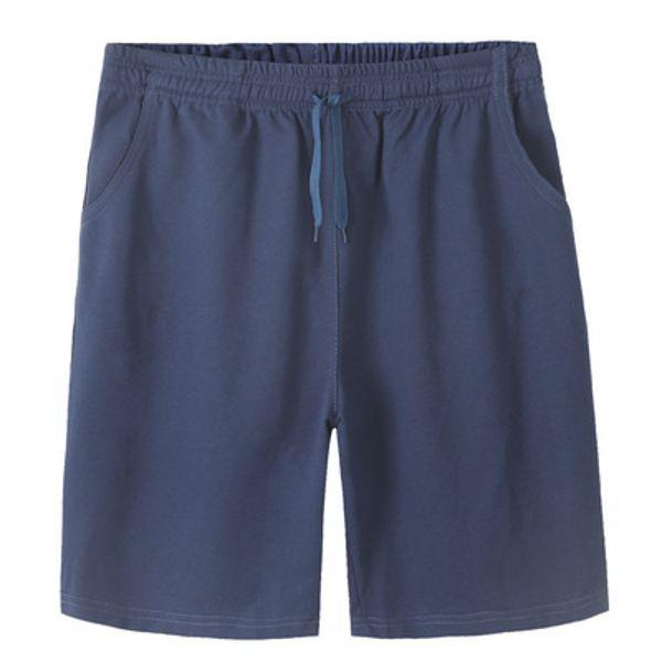Más el tamaño para hombre pantalones cortos de algodón elástico de la cintura del color sólido flojo ocasional del deporte hasta la rodilla