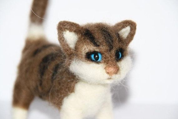 sweet Cat  needle felted miniature small animal by nutkaart