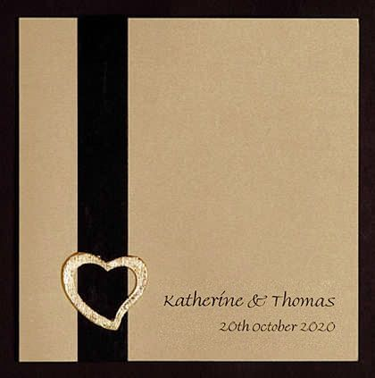 Wedding Invitation with Vertical Ribbon and Heart www.kardella.com
