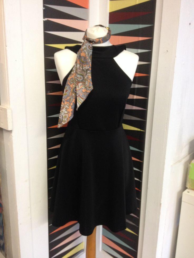 Vintage Dress Halter Backless Women 1950's 1960's Mod Rockabilly Dress Size Med Elegant Women Pleated Dress Black by ModBotherers on Etsy