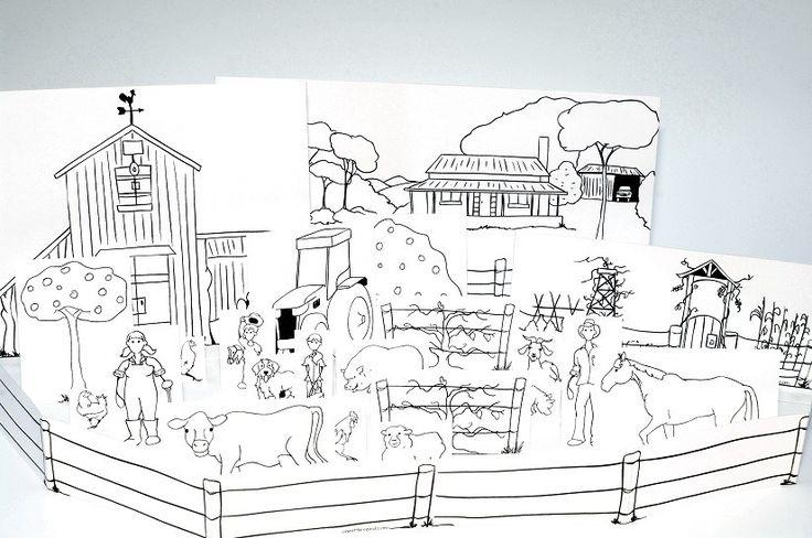 Paper city farm printable template