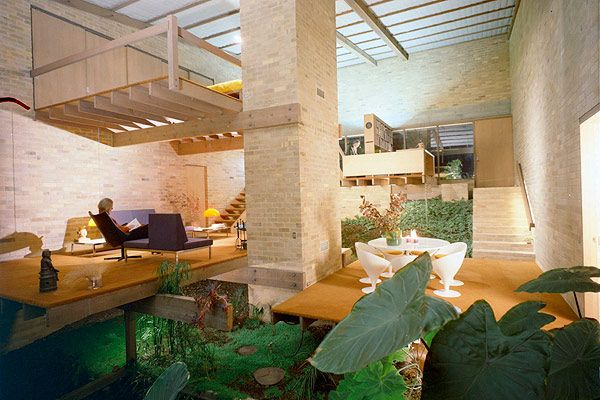 The Featherston House, designed by Robin Boyd for Grant and Mary Featherston. The Featherstons can be seen here relaxing in their unique home. The late Grant Featherston was a renowned furniture in the late 1960s.Picture: Mark Strizic.