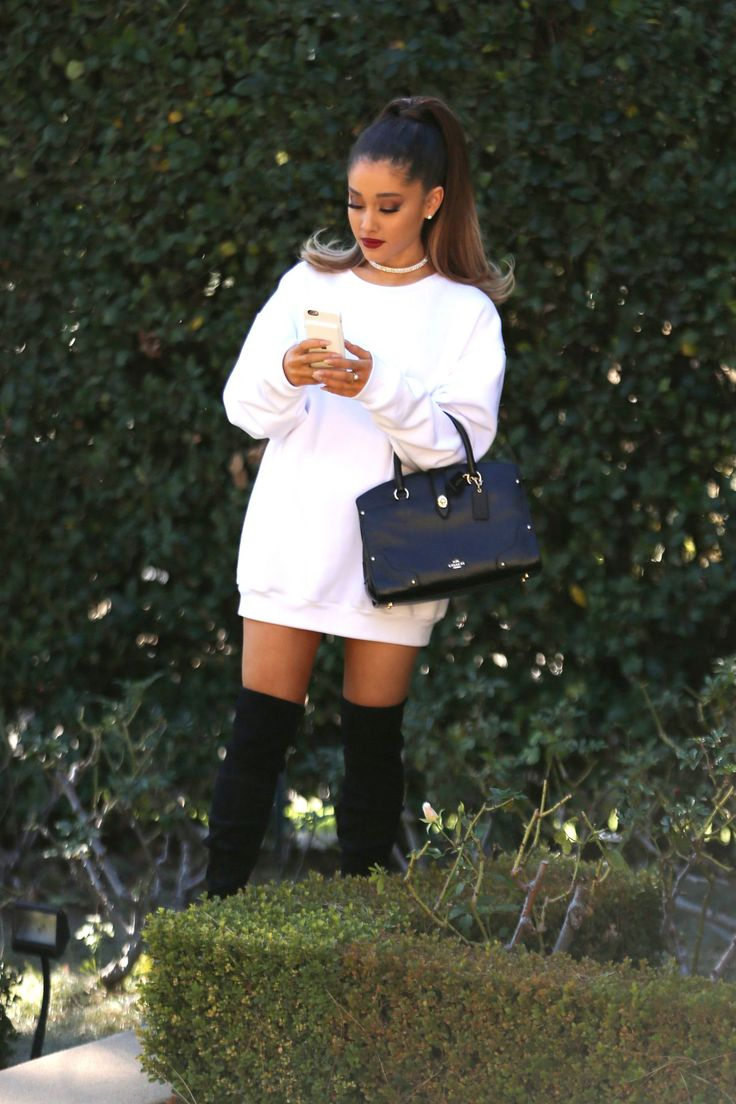 #fashion / white thigh sweater paired with long black boots