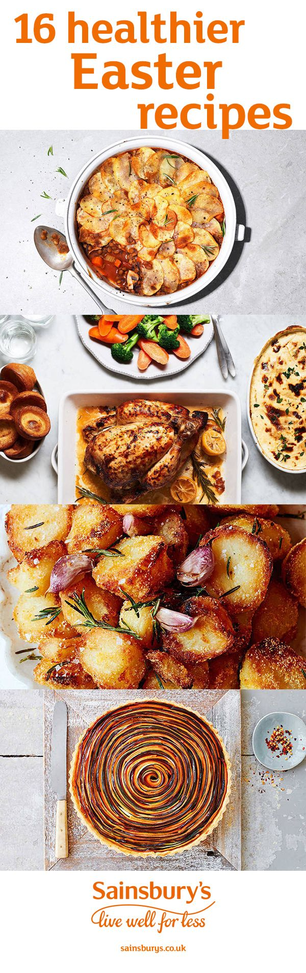 Fill your Easter weekend with healthier recipes, including giant Yorkshire puds with all the trimmings, perfectly crunchy roast potatoes, vegetable tart, whole roasted cauliflower, decadent strawberry Fraisier cakes and fluffy hot cross buns. These Easter recipes are all under 500 calories per serving.