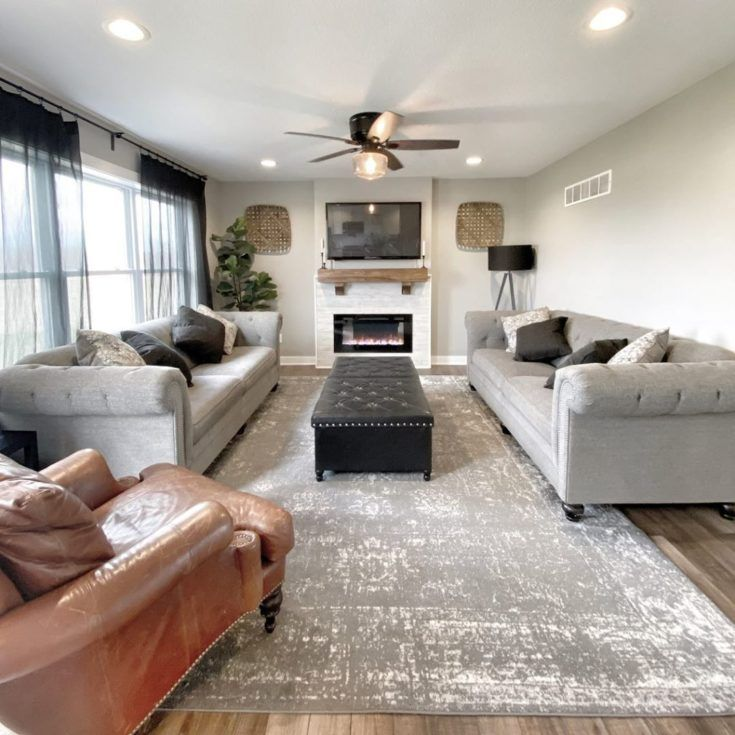 Sara Of Tnh Designs Painted The Walls In Sw Mindful Gray Due To The Large Window In The Room Mindful G In 2020 Living Room Furniture Leather Accent Chair Furniture