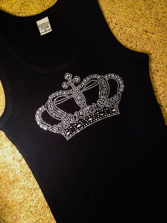 Large Crown Rhinestone Bling Shirt, Christian Small Medium Large XL 2x 3x Plus Size black white pink blue red aqua lime yellow tank top on Etsy, $15.95