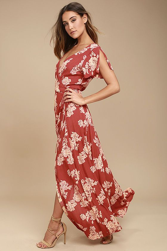 Lulus Exclusive! Win them over every time with the Heart of Marigold Rust Red Floral Print Wrap Maxi Dress! Beige floral print embellishes breezy woven rayon as it drapes into a sultry surplice bodice, framed by fluttering short sleeves. Wrapping maxi skirt secures via hidden, internal ties and an adjustable waist tie.