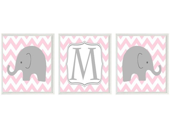 Elephant Nursery Art Print Set  - Chevron Initial Personalized - Pink Gray White Decor - Modern Nursery Baby Girl Room - Wall Art Home Decor...