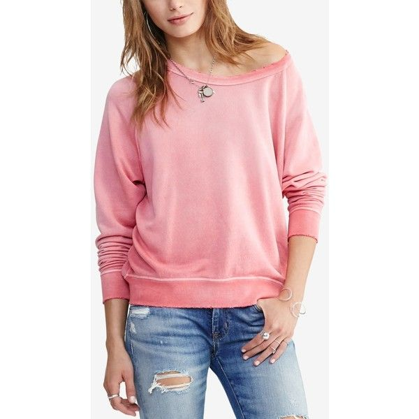 Denim & Supply Ralph Lauren Ombre French Terry Sweatshirt ($33) ❤ liked on Polyvore featuring tops, hoodies, sweatshirts, pink, slouchy tops, french terry tops, red top, red sweatshirt and distressed sweatshirt
