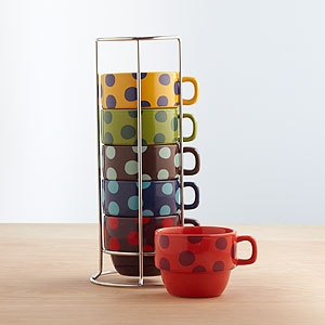 World Market Multi-Dot Stacking Mugs, Set of 6 ~ this could save a lot of cabinet space!