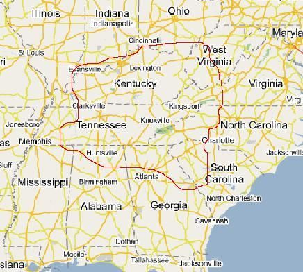 This is a map of where the Cherokee land is today. These are the places where Cherokee people still exist and thrive.