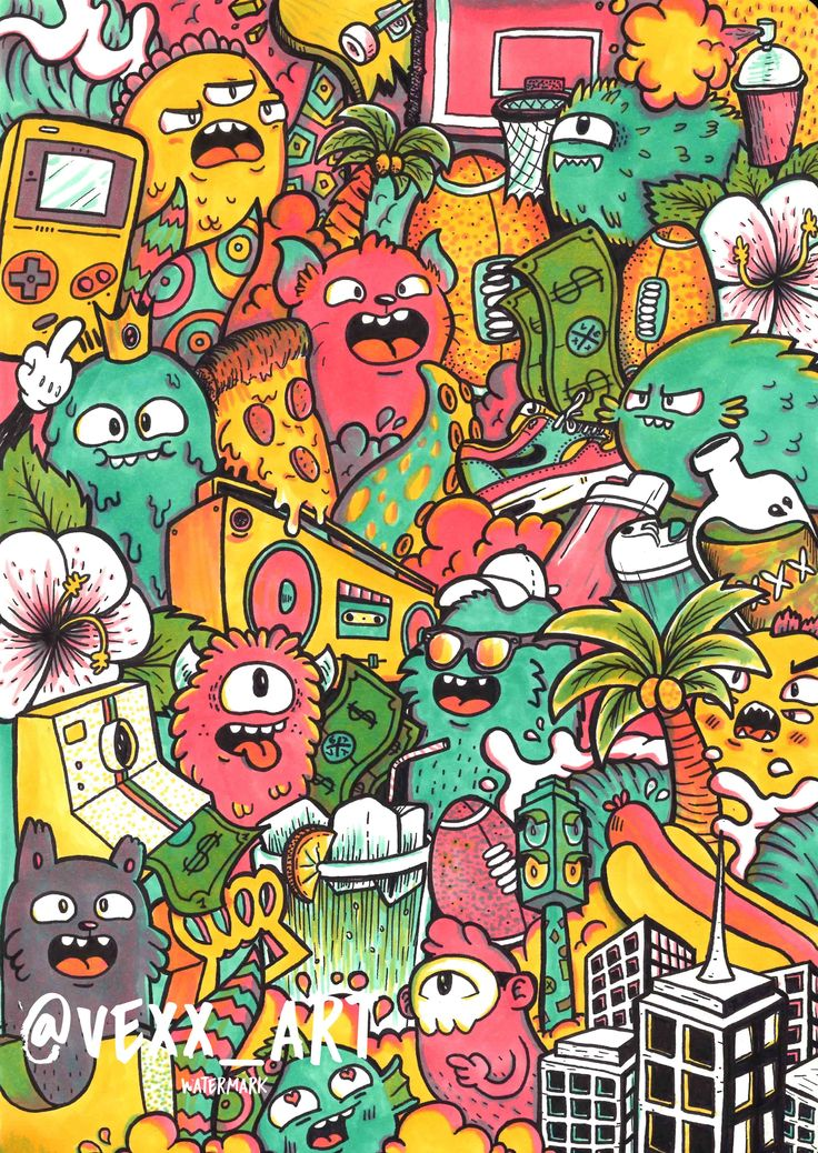 Doodle Monster Wallpaper on Collage Tree