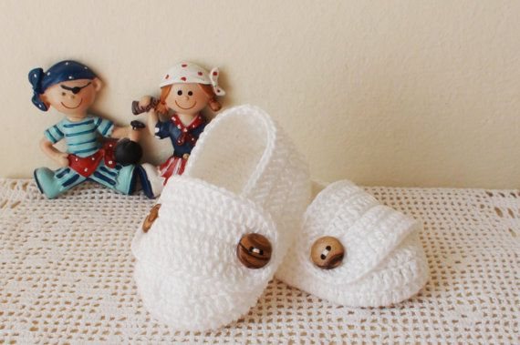White crochet shoes for Baby Boy Baby Boy crochet by HelenKurtidu