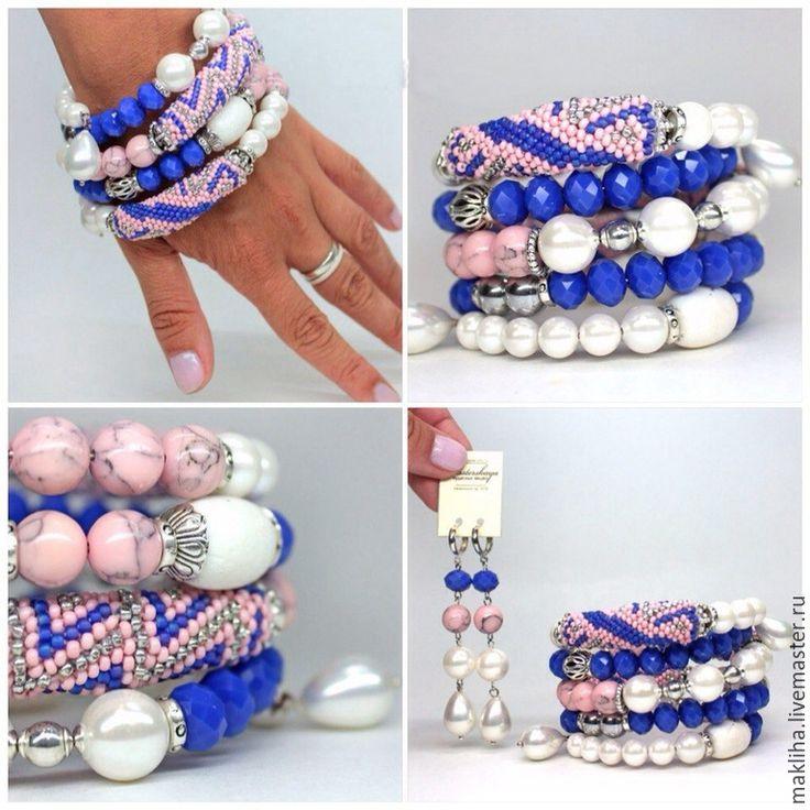Купить Стильные яркие браслеты из бисера и натуральных камней - разноцветный, браслет, сет браслетов
