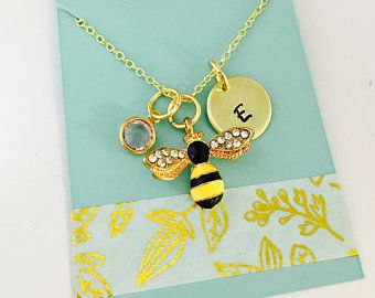 Bee Necklace, Queen Bee Necklace, Persoanlized Bee Necklace, Bee Jewelry, Queen Bee