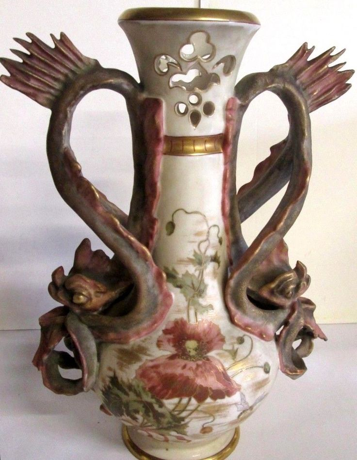 Amphora Pottery Vase With Dragon Handles Body With Art