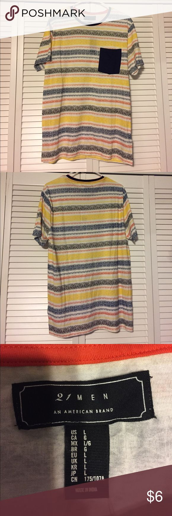 🆕21 MEN🆕NEW W TAGS KNIT PATTERN TOP Men's Large This Men's tshirt has never been worn and is new with tags. Has blue, yellow, orange and yellow pattern throughout with navy blue breast pocket. All questions welcomed! 21men Shirts Tees - Short Sleeve