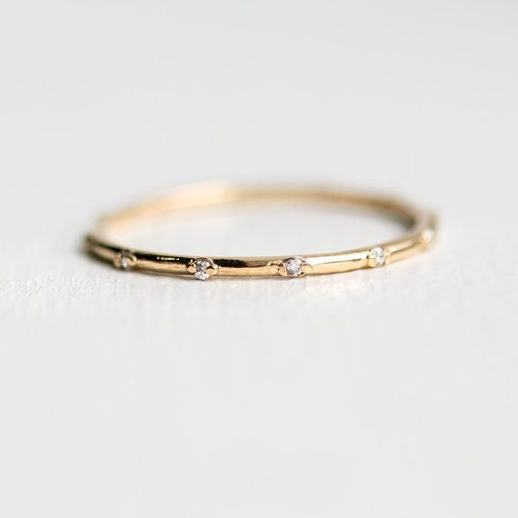 Twinkle Band | Tiny White Diamond Eternity Band in 14k Gold | Handmade Thin Diamond Stackable Ring |  Delicate Diamond Wedding Band
