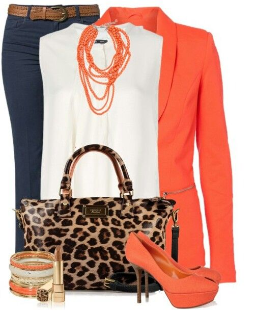 Coral Blazer, White Top with a Navy Blue Pants, Coral Pumps and a Leopard print Handbag