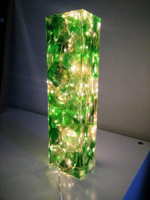 Resin Lamp Sea Glass And Light Sculpture Coloured Diy Art