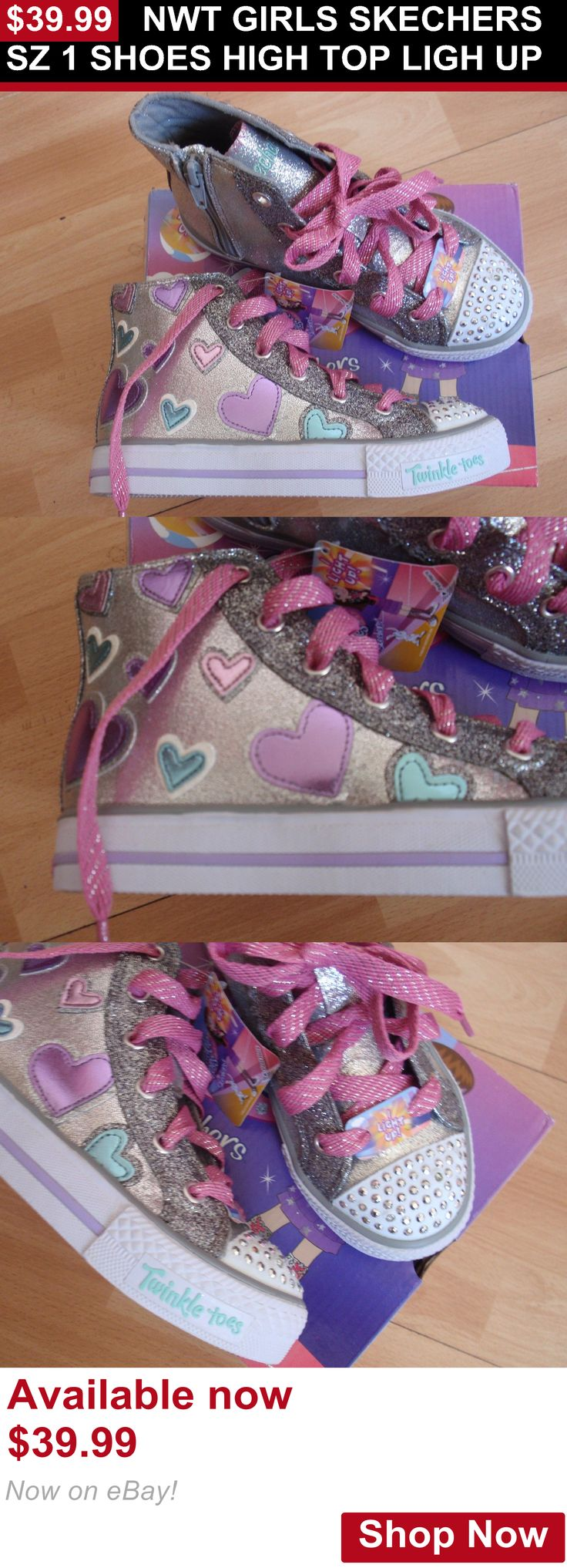 Children girls clothing shoes and accessories: Nwt Girls Skechers Sz 1 Shoes High Top Ligh Up BUY IT NOW ONLY: $39.99