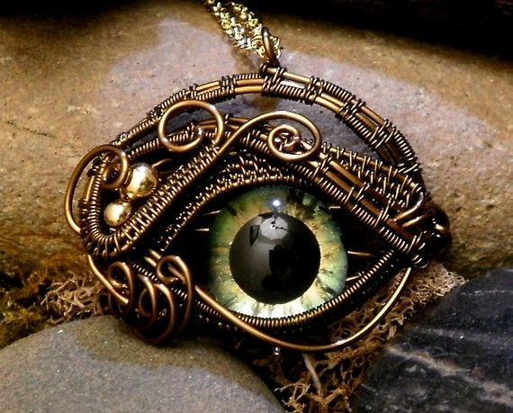 Gothic Steampunk Itty Bitty Evil Eye in Bronze Creepyness With Handpainted Glass Eye by twistedsisterarts | Smoked Glass Goggles