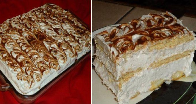 snadný dort bez pečení: máslove sušenky , dětské piškoty, 6 banánů, 4 balení šlehačky, 200 g cukru moučka, 200 ml mléko. čokoláda na dozdobení . Krájené banány přidáme do našlehané smetany. Přidáme trochu mléka a mixujeme na krém.  Dno formy vyskládáme dětskými piškoty, které si ještě předtím jemně namočíme v mléce. Nyní namažeme  1/3 našeho krému na piškoty. Na krém položíme máslové sušenky,namočené v mléce. Přidáme další vrstvu krému.Na krém sušenky a na závěr zbytek krému.a čokoládu